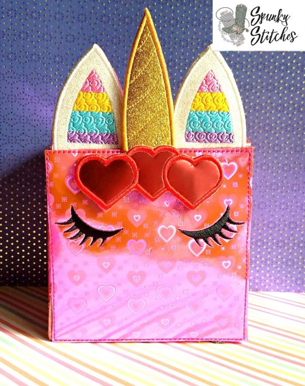 unicorn valentine box in the hoop embroidery file by spunky stitches.