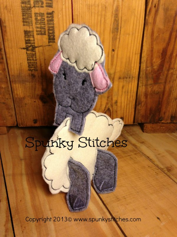 3D lamb toy in the hoop embroidery file by Spunky stitches