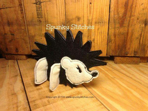3D hedgehog toy in the hoop embroidery file by Spunky stitches