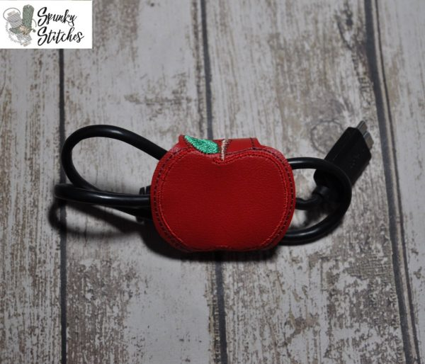 apple cord wrap in the hoop embroidery file by Spunky stitches