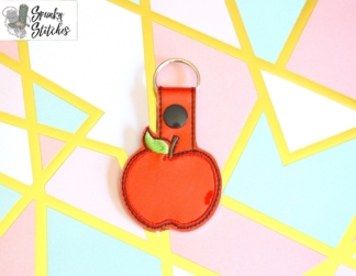Apple Key Fob in the hoop embroidery file by Spunky stitches