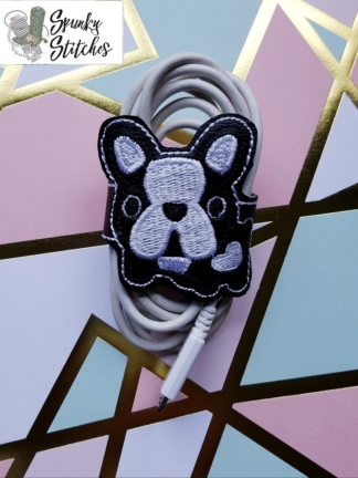 boston terrier cord wrap in the hoop embroidery file by Spunky stitches