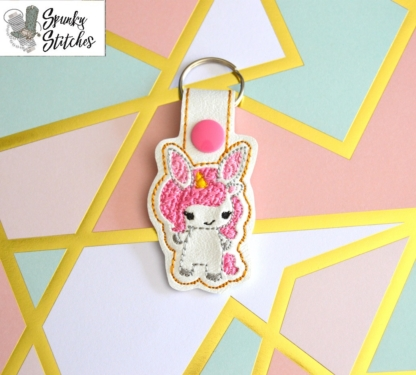bunny unicorn key fob in the hoop embroidery file by Spunky stitches