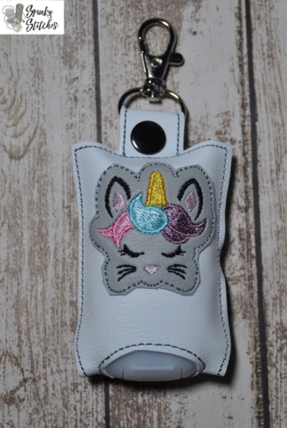bunnycorn hand sanitizer holder in the hoop embroidery file by Spunky stitches