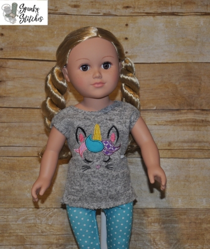 18in bunnycorn shirt in the hoop embroidery file by Spunky stitches