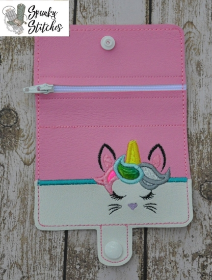 Bunnycorn Zipper Wallet in the hoop embroidery file by Spunky stitches