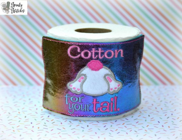 cotton tail toilet paper wrap in the hoop embroidery file by spunky stitches