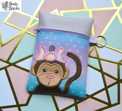 Monkey Girl Flap Zipper Bag in the hoop embroidery file by Spunky stitches