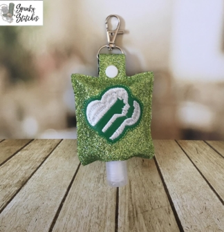 girl scout hand sanitizer case in the hoop embroidery file by Spunky stitches