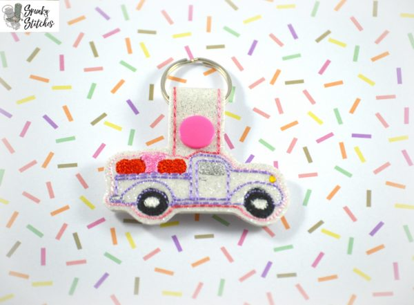 heart truck key fob in the hoop embroidery file by Spunky stitches