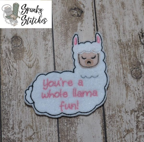 llama valentine Sucker holder in the hoop embroidery file by Spunky Stitches.