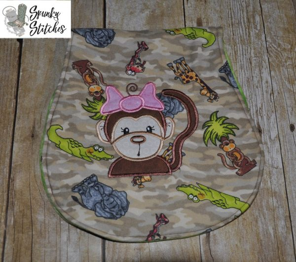 Monkey girl applique embroidery file by Spunky stitches