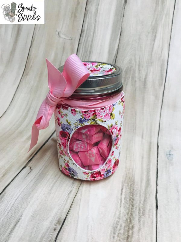 oval jar wrap in the hoop embroidery file by Spunky stitches