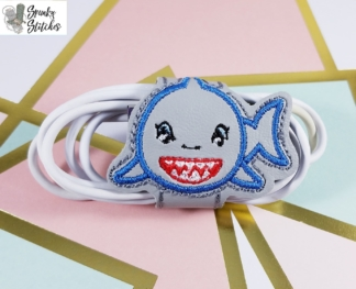 shark cord wrap in the hoop embroidery file by Spunky stitches