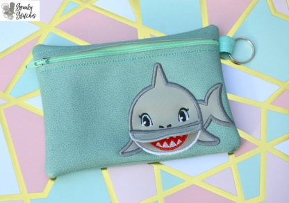Shark Flap Zipper Bag in the hoop embroidery file by Spunky stitches