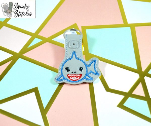 Shark Key Fob in the hoop embroidery file by Spunky stitches