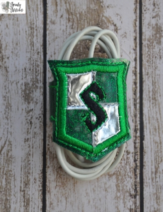 slytherin cord wrap in the hoop embroidery file by Spunky stitches