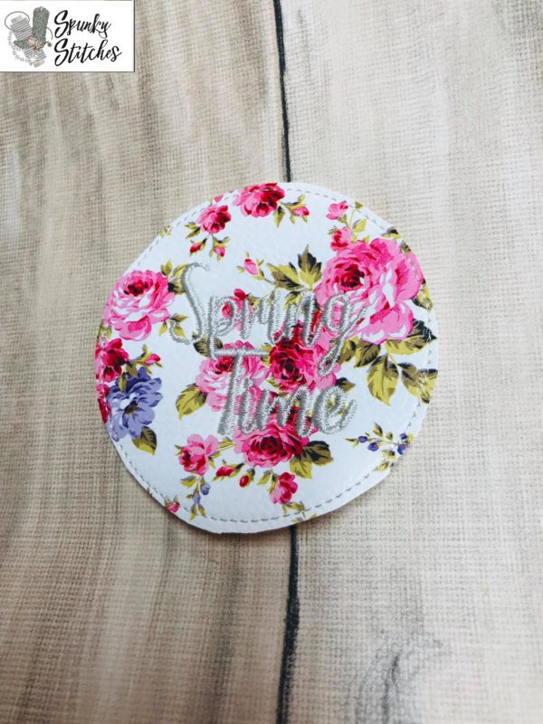 spring time jar lid in the hoop embroidery file by Spunky stitches