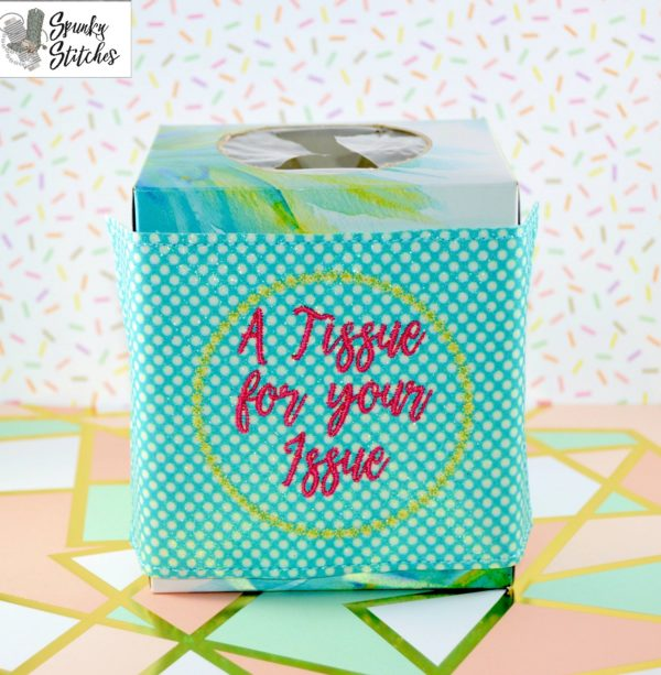 tissue for your issue jar wrap in the hoop embroidery file by Spunky stitches