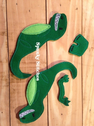 3D Trex toy in the hoop embroidery file by Spunky stitches