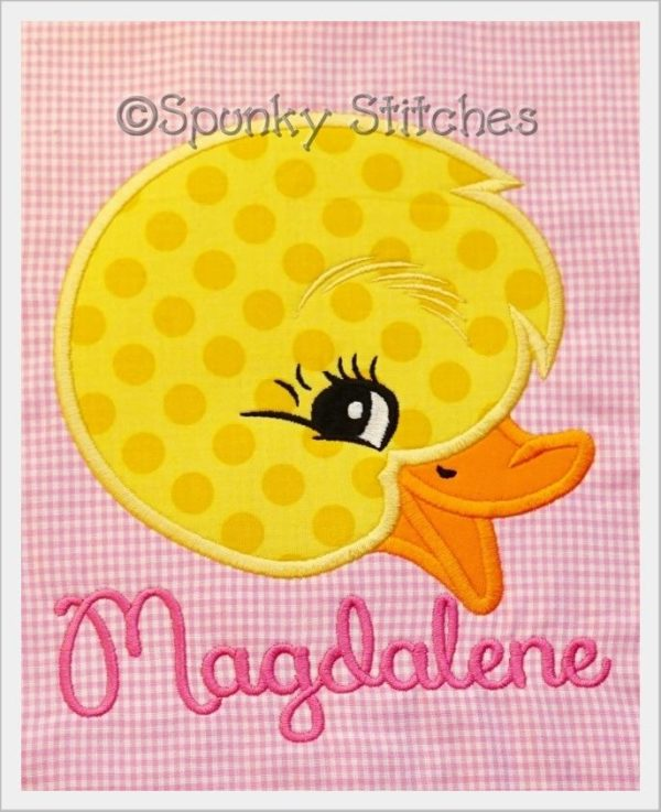 vintage duck applique embroidery file by Spunky stitches