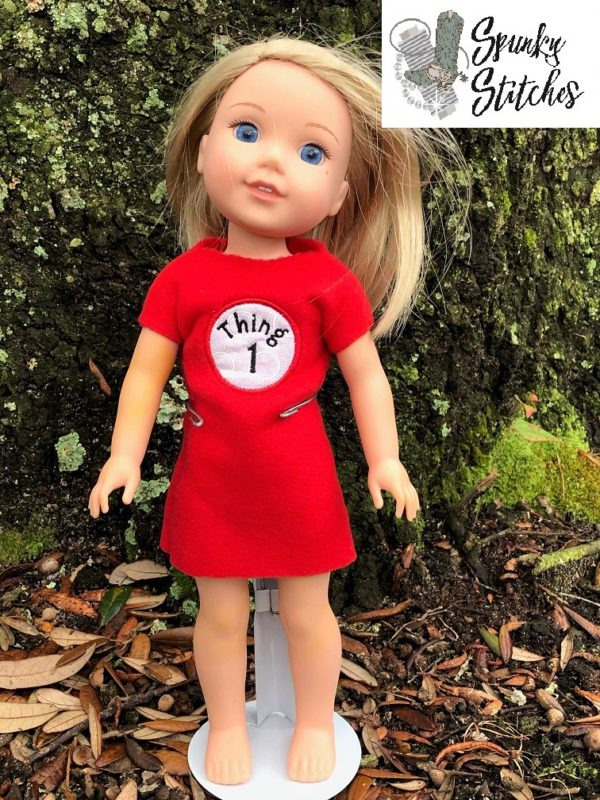 14in Doll Thing 1 dress in the hoop embroidery file by Spunky stitches