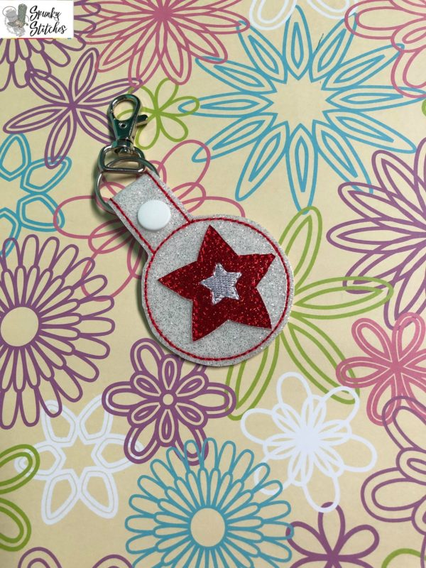 American Girl key fob in the hoop embroidery file by Spunky stitches