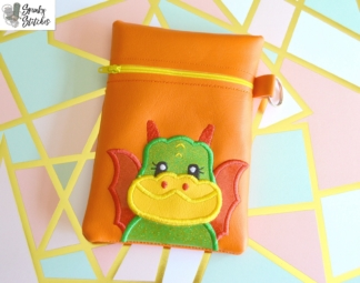 Dragon Flap Zipper Bag in the hoop embroidery file by Spunky stitches