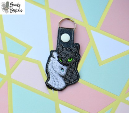 Dragon Couple Key Fob in the hoop embroidery file by Spunky stitches