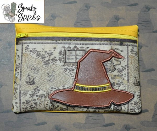 sorting hat gryffindor flap zipper bag in the hoop embroidery file by Spunky stitches