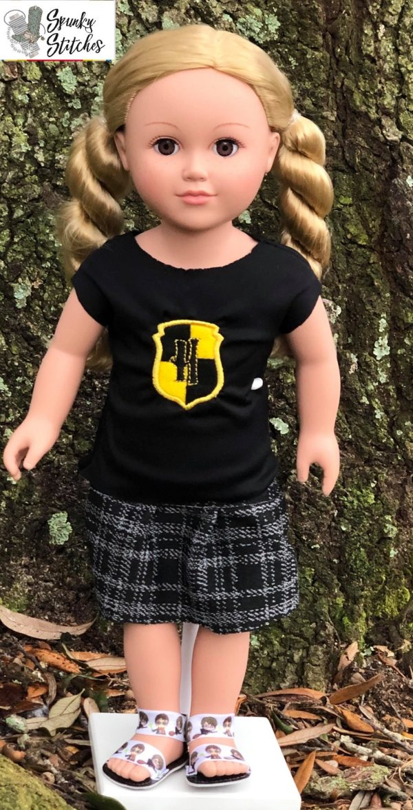 18in hufflepuff shirt in the hoop embroidery file by Spunky stitches