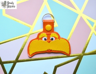 Lorax key fob in the hoop embroidery file by Spunky stitches