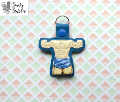 Muscle Man Key Fob in the hoop embroidery file by Spunky stitches