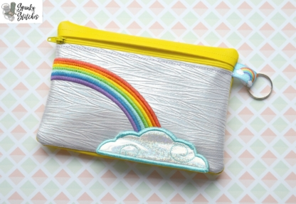 Rainbow Flap zipper bag in the hoop embroidery file by Spunky stitches