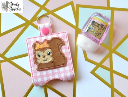 Squirrel Kitty Hand Sanitizer Holder Key Fob in the hoop embroidery file by Spunky stitches