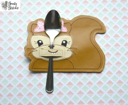 Squirrel Silverware Holder in the hoop embroidery file by Spunky stitches