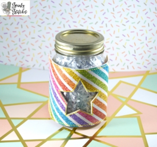 Star Jar wrap in the hoop embroidery file by Spunky stitches