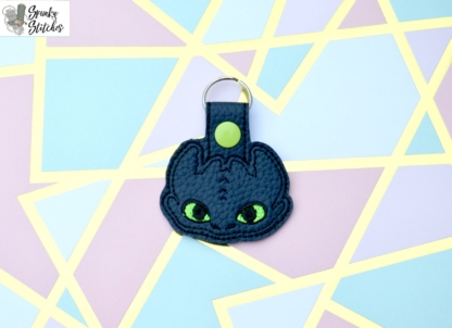 Toothless Key Fob in the hoop embroidery file by Spunky stitches