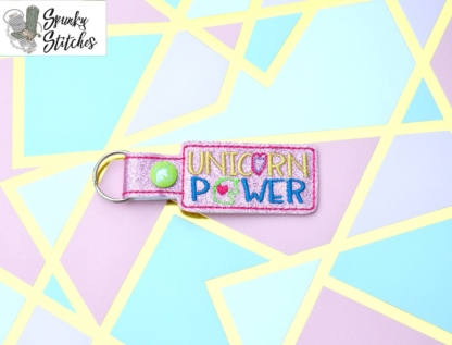 Unicorn Power Key Fob in the hoop embroidery file by Spunky stitches