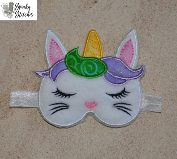 18in doll bunnycorn sleep mask in the hoop embroidery file by Spunky stitches