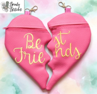 BFF Zipper Bag in the hoop embroidery file by Spunky stitches