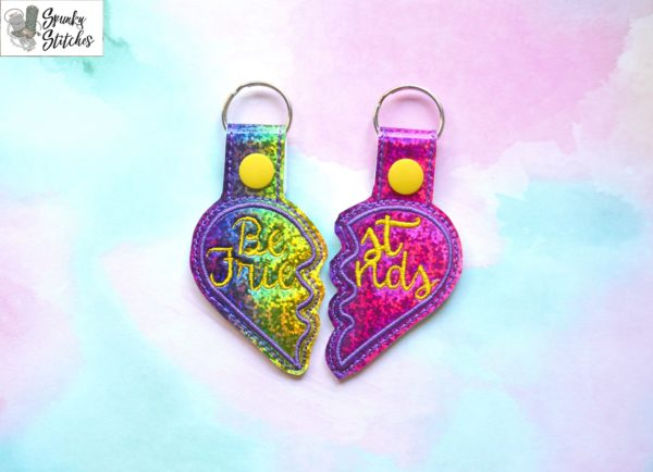 BFF Key Fob in the hoop embroidery file by Spunky stitches