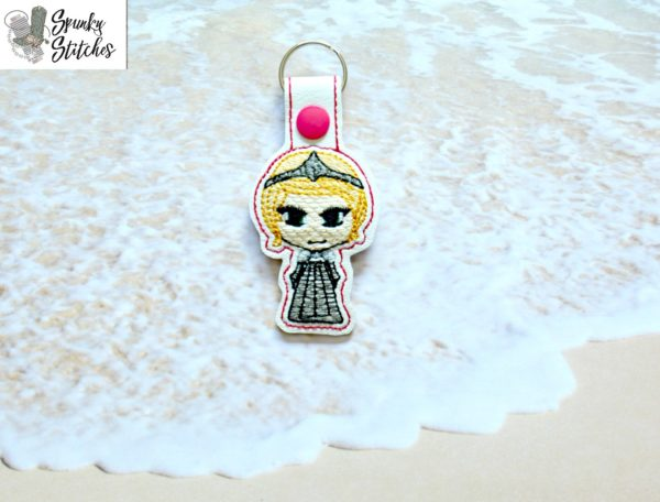 Cersei Chibi Key Fob in the hoop embroidery file by Spunky stitches