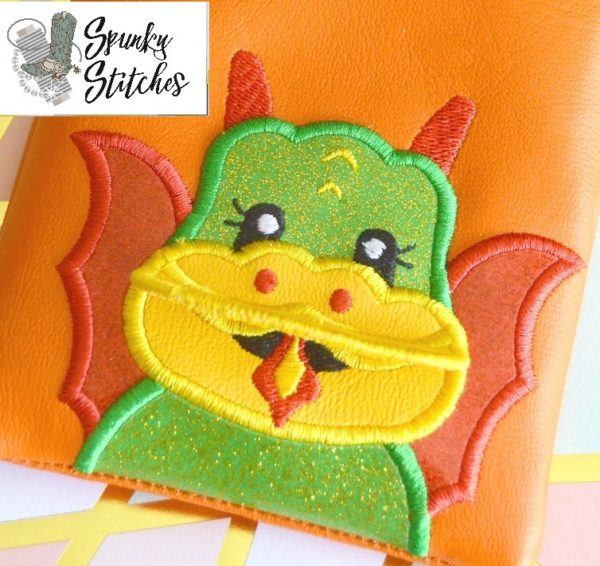 Dragon Flap applique in the hoop embroidery file by Spunky stitches