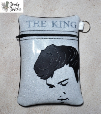 Elvis zipper bag in the hoop embroidery file by Spunky stitches