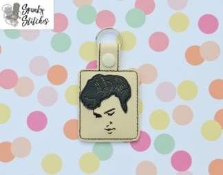 Elvis Key Fob in the hoop embroidery file by Spunky stitches