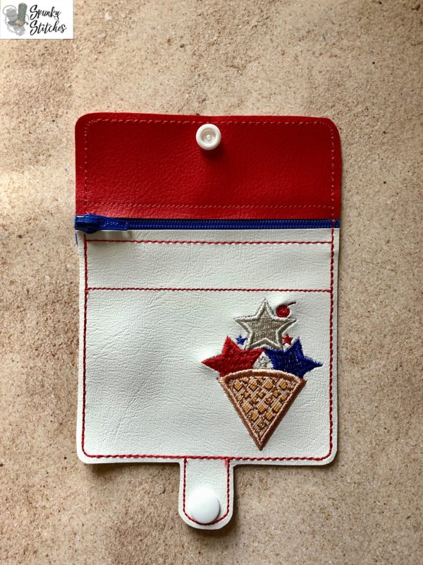 fourth cone mini zipper wallet Key Fob in the hoop embroidery file by Spunky stitches