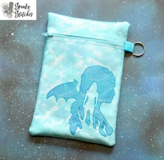 GOT silhouette Zipper Bag in the hoop embroidery file by Spunky stitches