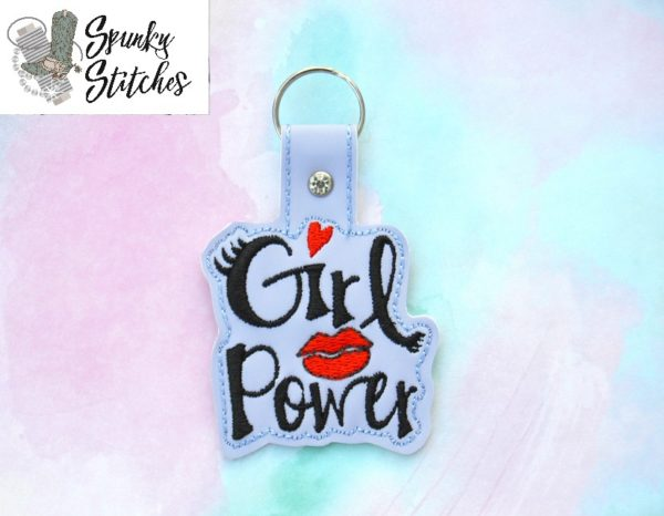 Girl Power Key Fob in the hoop embroidery file by Spunky stitches