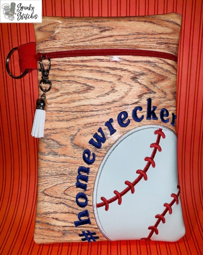 Homewrecker zipper bag in the hoop embroidery file by Spunky stitches